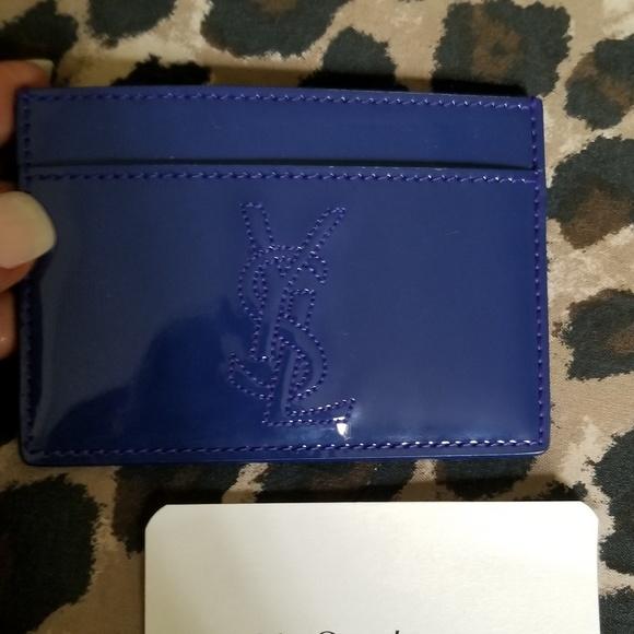 6d0f0bbd527 Yves Saint Laurent Accessories   Electric Blue Patent Cardholder ...